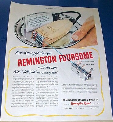 1946 REMINGTON new Foursome electric SHAVER Ad ~ first showing