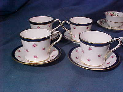 4-Early 20th CAULDON England Porcelain DEMITASSE CUPS w Small ROSES Designs
