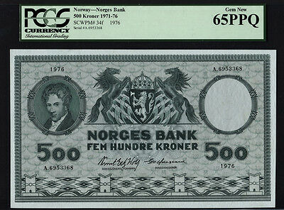 TT PK 34f 1976 NORWAY 500 KRONER PCGS 65 PPQ GEM NEW ONLY FOUR GRADED FINER