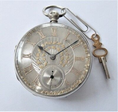 1876 Silver Cased Jewelled Fusee Pocket Watch L Shanfield Manchester Working