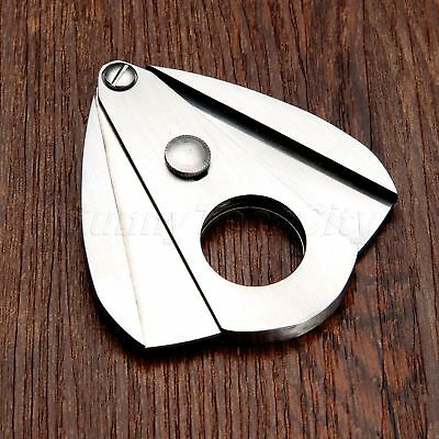 Portable Stainless Steel Double Blades Cigar Cutter Guillotine Scissors Silver