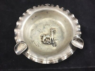 Vintage Peruvian Sterling Silver Llama Ashtray Peru .925- 58 grams