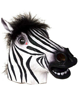 Adults Deluxe Latex Zebra Head Animal Mask With Fur Costume Accessory