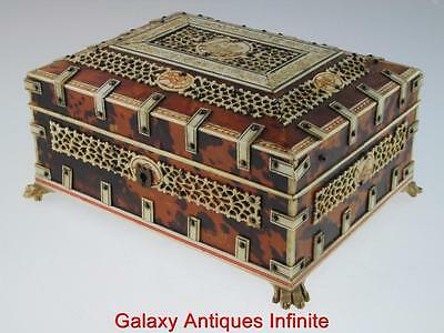 Antique 19th Century Anglo Indian  Faux Tortoiseshell Box Circa 1880