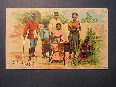 Old 1892 ZULULAND South Africa - SINGER Sewing Machine Co. Victorian TRADE CARD