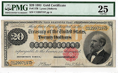 $20 1882 Gold Certificate FR#1178. PMG-25