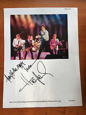 "Huey Lewis Signed Autograph 8x10 Photo ""Thanks for the Singing Lessons"""