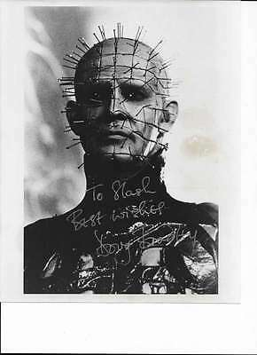 Doug Bradley Pinhead Hellraiser Signed Autographed 8x10 B&W Photo in Silver Ink