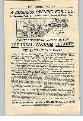 1909 Paper Ad Ideal Vacuum Cleaner Business Opening  American Vacuum Cleaner NYC