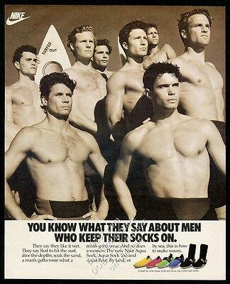 1989 Nike Aqua Socks surfers photo vintage print ad
