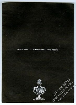 1965 Shalimar perfume bottle photo In Memory Of All The Men Who Fell print ad