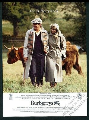 1986 Burberry trench coat couple & Highland cattle bull Lord Lichfield photo ad
