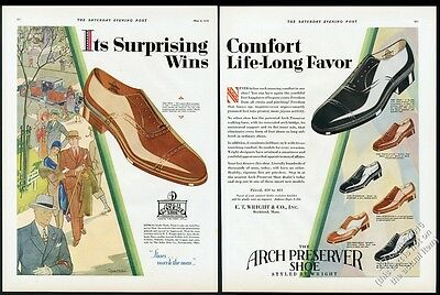 1929 Arch Preserver men's shoes 7 styles BIG illustrated vintage print ad