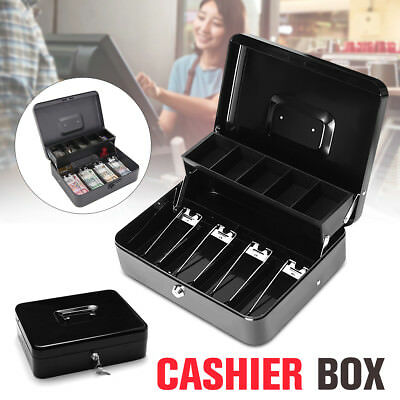 Lockable Cash Box Tiered Tray Money Security Drawer Portable Safe Storage