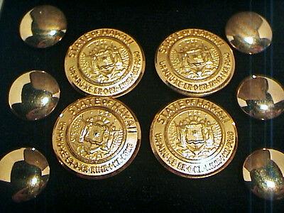 VINTAGE OFFICIAL SET 1959 HAWAII STATE SEAL GOLD BUTTONS x10 WATERBURY w BOX EX