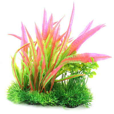 Aquarium Plastic Fish Tank Plant Ornament Water Grass Vivid Decoration Tricolor