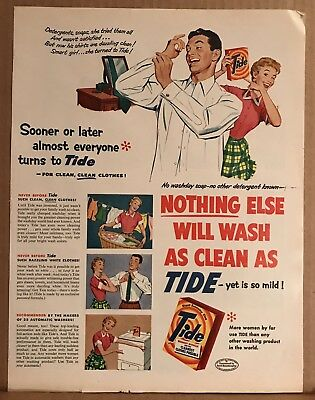Vintage Magazine Advertising 1950's TIDE Laundry Detergent Print Ad 10x13 Color