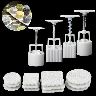 4 Sets Square Round Flower Moon Cake Mould Mold Pastry Mooncake Hand DIY Tool