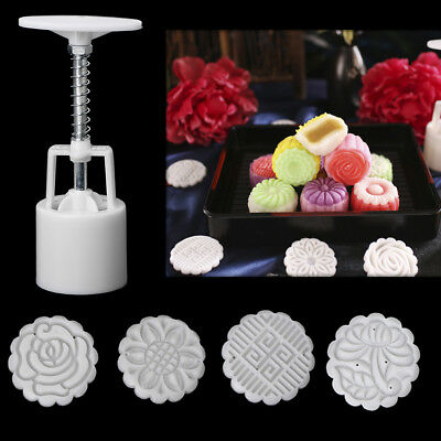 Moon Cake Mould Mold Hand Pressure Flower Decor Motif Pastry 50g Round+4 Stamps