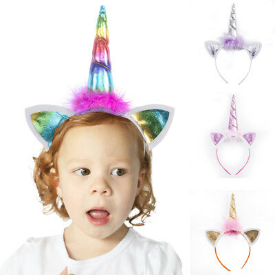 UK Stock Unicorn Horn Flower Headband Fancy Dress Kids Party Birthday Magical