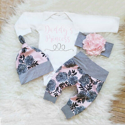 UK Stock 3PCS Newborn Baby Girls Top Romper Long Pants Hat Outfits Clothes 0-24M
