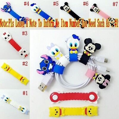 1PCS Mickey/Minnie/Bear/Duck USB/Headphone Wire Cord Cable Winder Fixer Holder