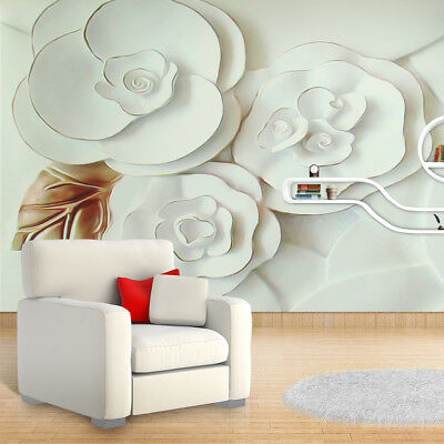 3D Luxury Wallpaper Mural Embossed Flowers White Rose Background Deco Wall Paper