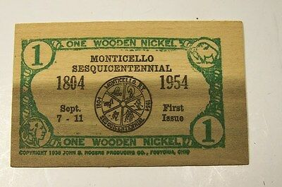 Monticello, Ny-1954 Sesquicentennial Wooden Nickel