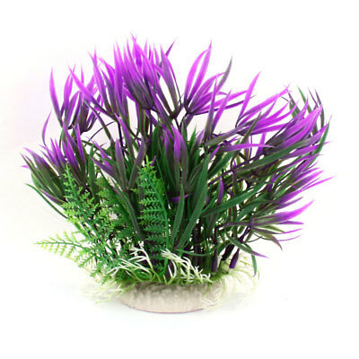 "6.7"" Height Fish Tank Aquarium Plastic Water Plant Grass Ornament Green Purple"