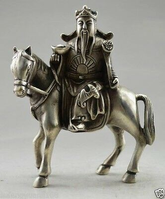 Collectible Decorated Old Tibet Silver God Of Wealth On horse Bring Money Statue