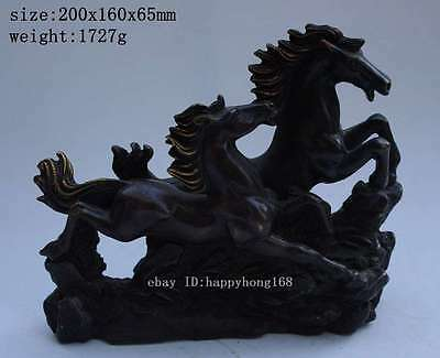 Chinese Purple copper Carved Animal Two Run Broncos Horse Art Sculpture Statue