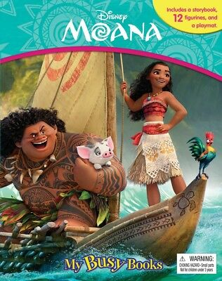 Disney Moana My Busy Book Board book New FREE SHIPPING Figures Playmat