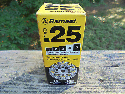 RAMSET .25CAL Yellow Power Level 4D60 D45 D45A  10 Round Discs  100 Loads