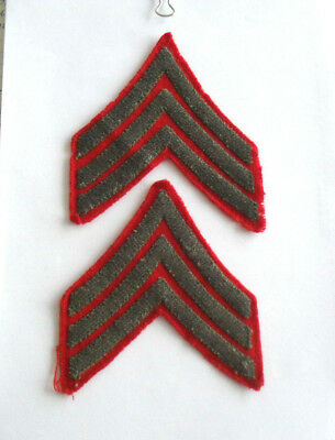 Great Matched Pair Wwii Usmc Sergeant Chevrons Green Embroidered On Red Wool