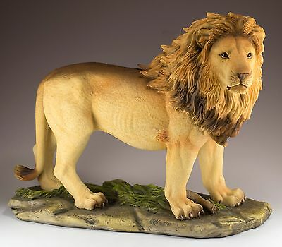 "Majestic Lion Figurine Large 13"" Long Polystone New In Box!"