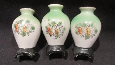 PICO Occupied Japan Trio of Vintage Hand Painted Miniature Urns on Stands