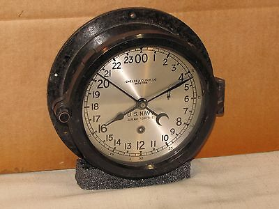 Chelsea Military Ships Clock~U.s.navy~6 In Dial~1944~24Hr Dial