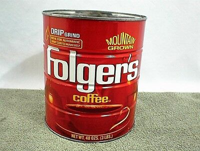 VINTAGE FOLGERS COFFEE CAN 48 OZ TIN Folger`s DRIP GRIND 3 POUND