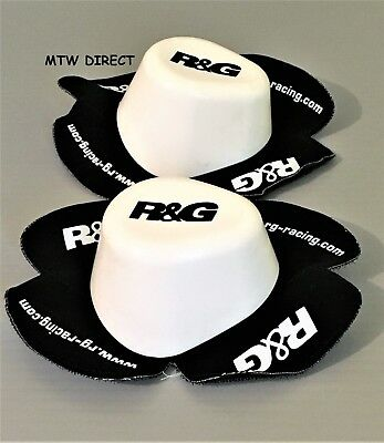 R&G Racing  PAIR WET SESSION BLACK & WHITE KNEE SLIDERS composite materials