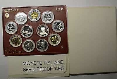 GN469 Italien Original Kursmünzensatz 1985 KMS PROOF PP Mint Set KM#PS2 SEHR RAR