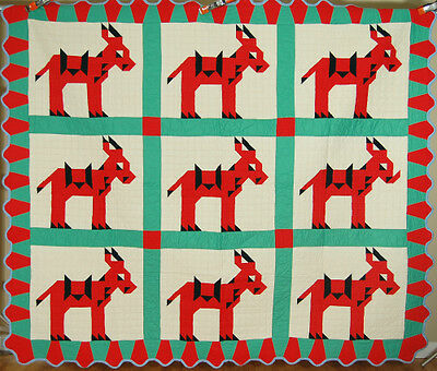 AMAZING Vintage 40s Donkey Mosaic Postage Stamp Antique Quilt, MINT ~NICE BORDER