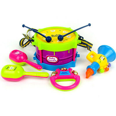 Baby Infant Toddler Developmental Toy Kids drum rattles Educational Toys 5X/Set