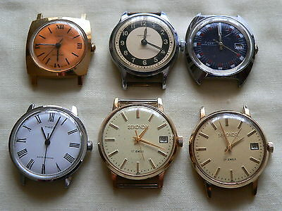 Small Job Lot Of 6 Men's Vintage Mechanical Wrist Watches-For Spares Or Repair
