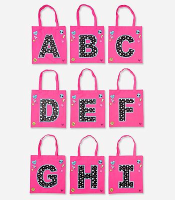 Justice Girl's Pink Space Star Initial Tote NWT
