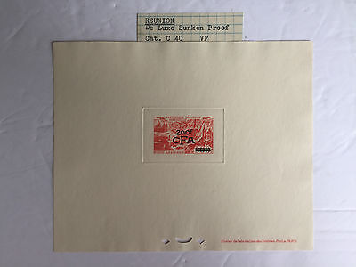 RARE 1949 French Colony Stamp REUNION Overprinted Surcharged Sunken DIE PROOF