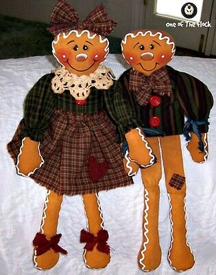 Prim Gingerbread Dolls Sewing Pattern, Ginny & Gerry Sweets Sitter Type Dolls