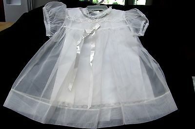 Vintage White Embroidered 4 Piece Christening Outfit Dress Coat Shoes Set