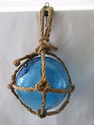 Antique Blue Glass Ball Fishing FLOAT BUOY with Pontil and NAUTICAL Net Rope