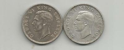 Ncoffin New Zealand King George Vi  1936 & 1944 Florin .500 Silver Coins