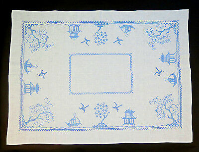 """Vintage Hand Embroidered Blue Willow Pattern White Cotton Tablecloth 46"""" x 37"""""""